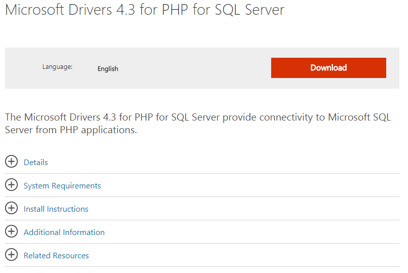 Microsoft Drivers 4.3 for PHP for SQL Server